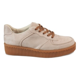 Brown Beige lace-up creepers 7-K3568B