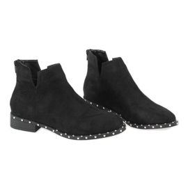 Black suede boots with studs 3283-1