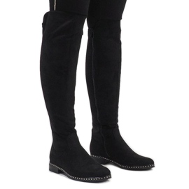 Black suede boots with H305 studs