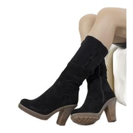 Black suede high heels 9A0956