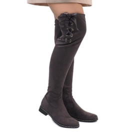 Foreverfolie grey Gray suede leather boots H308