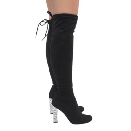 Black suede boots on the BM177 diamond pillar