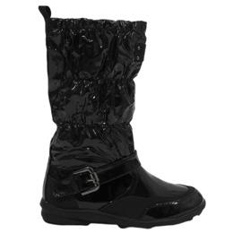 Black short varnished Y110 warm boots