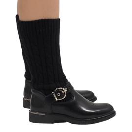 Ideal Shoes Black warm boots E-4939