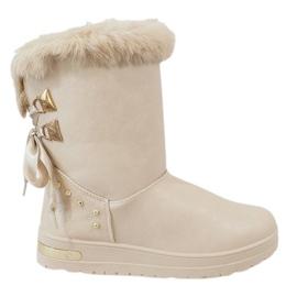 Brown Women's beige snow boots AN-107