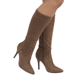 Brown Taupe boots on a stiletto heel 1101-2
