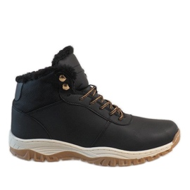 Black insulated snow boots A1717-1