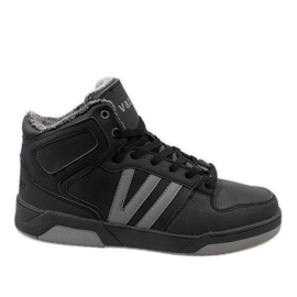 Black high sneakers with fur M667-2