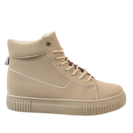 Brown Beige lace-up creepers 892-PA