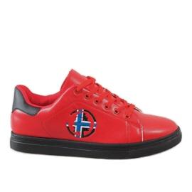 Red men's sneakers D20533