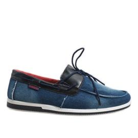 Dark blue elegant loafers shoes AB108-1 navy