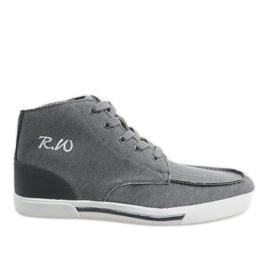Gray elegant high shoes F10455 grey