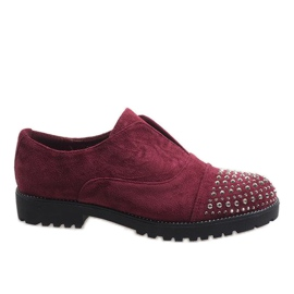 Red Burgundy slippers with studs 22-2