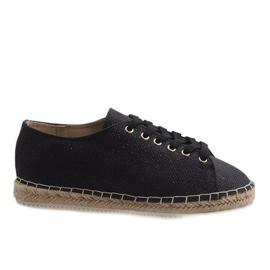 Black espadrilles laced 831-1