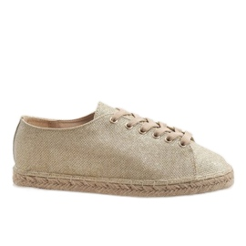 Golden lace-up espadrilles 831-1 yellow