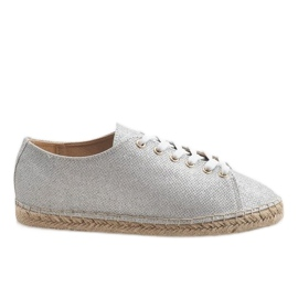 Grey Silver espadrilles laced 831-1