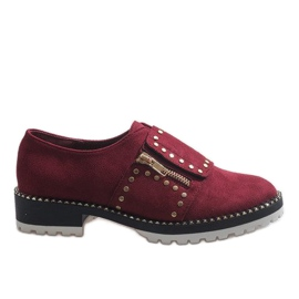 Red Burgundy slip-on brogues with studs U-6249