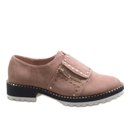 Pink slip-on brogues with U-6249 studs