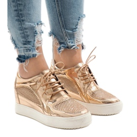 Champagne Lacquered Openwork Sneakers WW055A yellow