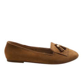Brown loafers ballerinas with tassels H7207