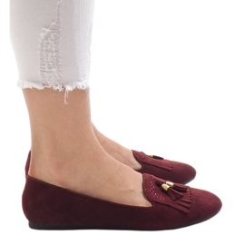 Burgundy loafers ballerinas with fringes H7207