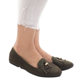 Green loafers ballerinas with fringes H7207