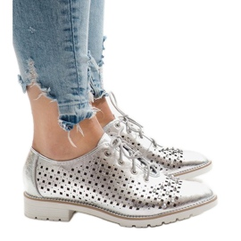 Grey Silver openwork shoes with G-106-2 studs