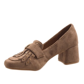 Khaki suede pumps on the post LB-339 brown