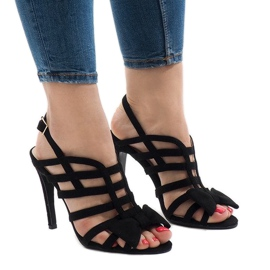 Black sandals with bow 238-C5