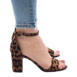 Leopard five-heeled sandals 5102