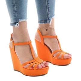Orange wedge heel sandals A-8A