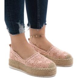 Pink sneakers espadrilles on platform 7801-P