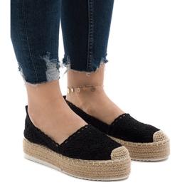 Black sneakers espadrilles on platform 7801-P