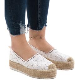 White sneakers espadrilles on platform 7801-P