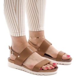 Brown Camel flat sandals with a buckle CZTZ-2K122-4