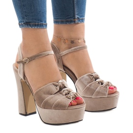 Brown Beige sandals on the post suede 8256-15