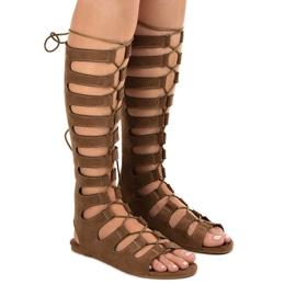 Brown flat gladiator sandals 289-9