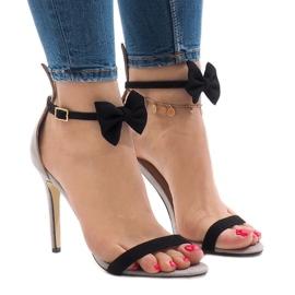 Gray suede sandals high heel bow ZJ-15P