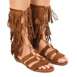Brown flat gladiator sandals D-41