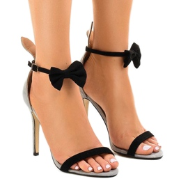 Gray suede sandals high heel bow JZ-6334