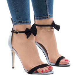 Blue suede sandals high heel bow JZ-6334