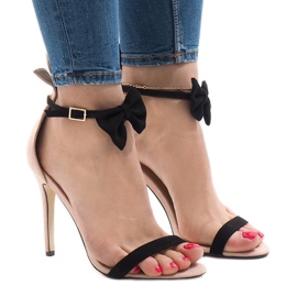 Pink suede sandals high heels bow JZ-6334