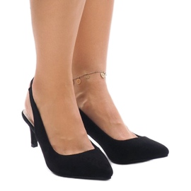 Black pumps on a pin with an elastic band 16337-242