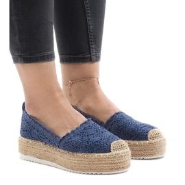 Blue sneakers espadrilles on platform 7801-P