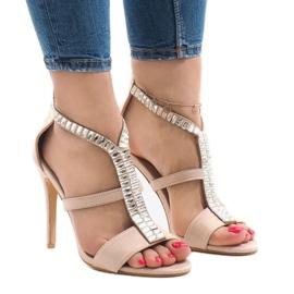 Beige sandals on B-60 heel brown