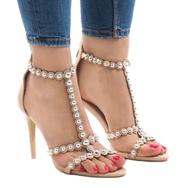 Brown Beige sandals on a pin with 8296-Y studs