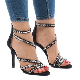 Black sandals on stiletto 9081-9
