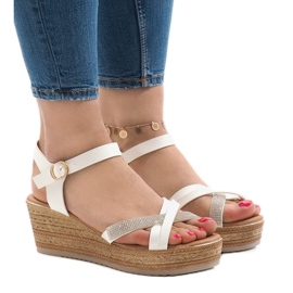 White sandals on the WS8816 platform