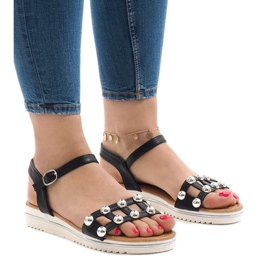 Black wedge sandals with an elastic band 35-128