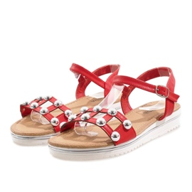 Red wedge sandals with an elastic band 35-128